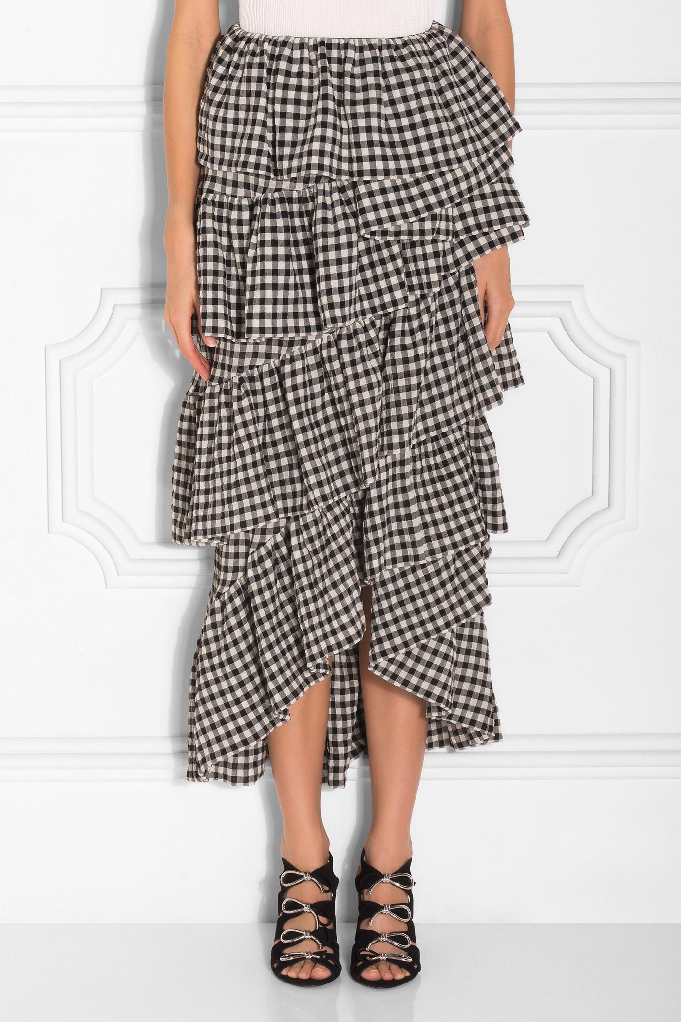 Isa arfen Midi Ruffle Skirt in Black | Lyst