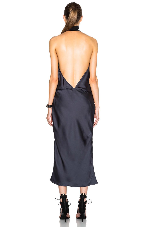 Lyst Christopher Esber Bias Backless Halter Dress In Blue