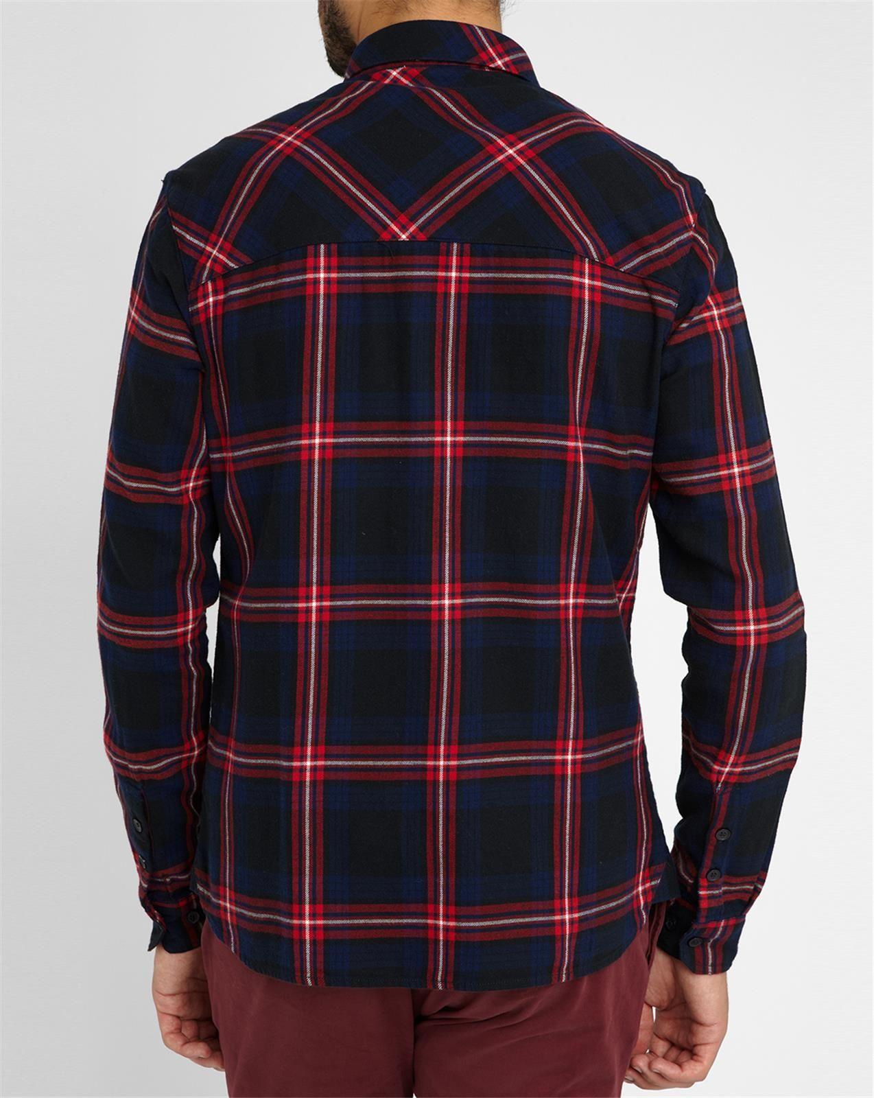 Eleven Paris Red Blue Molok Plaid Flannel Shirt In Blue