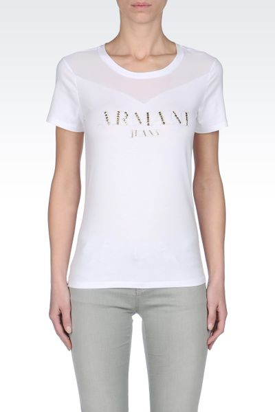 Armani jeans navy armani jeans eagle metal logo tshirt for White t shirts that aren t see through