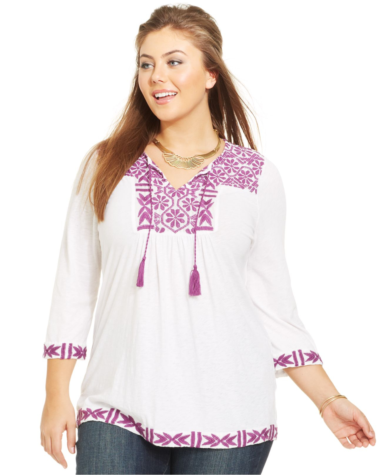 c694a14196a Lyst - Lucky Brand Lucky Brand Plus Size Embroidered Peasant Top in ...