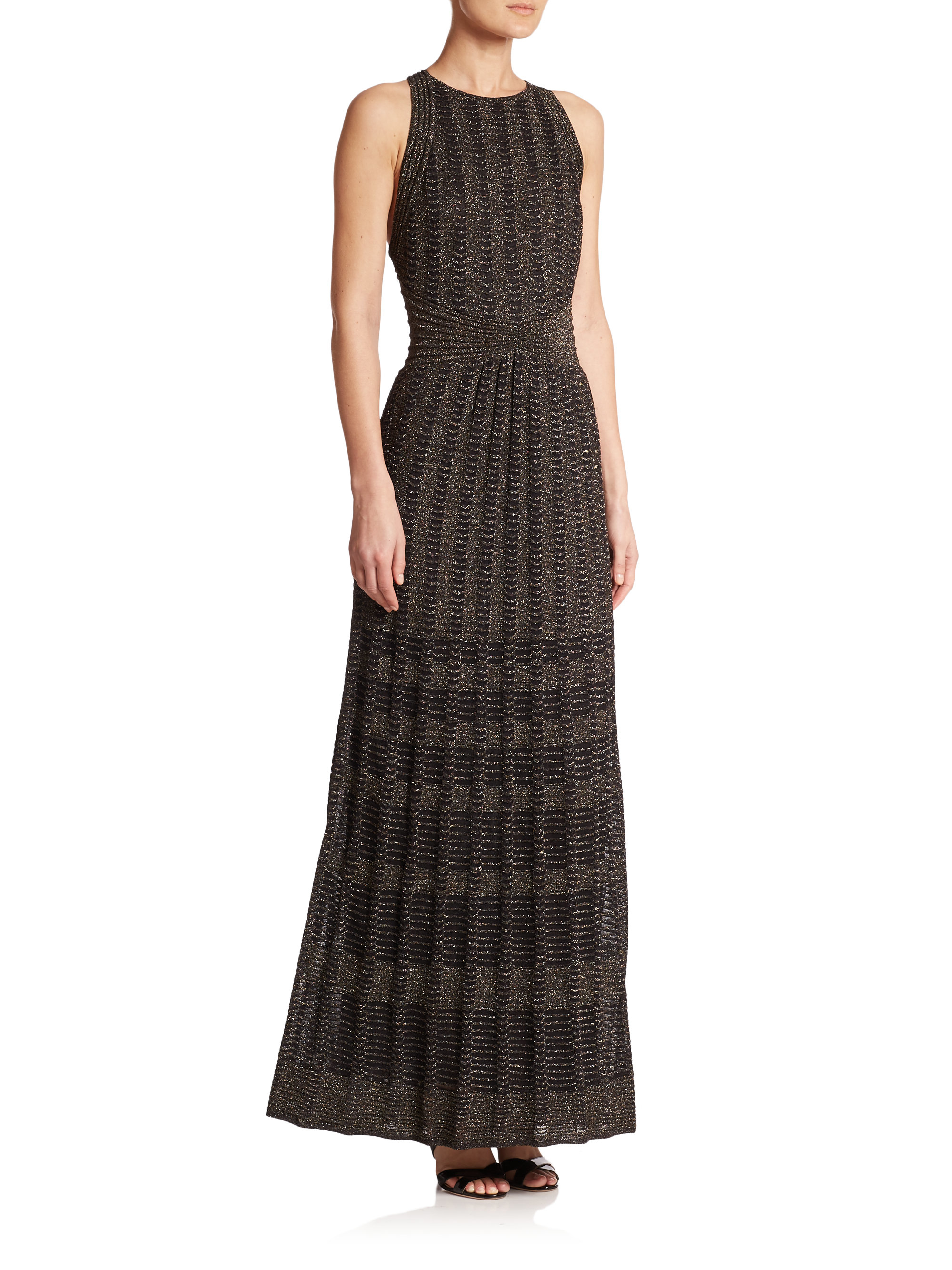 M missoni Metallic Knit Maxi Dress in Black | Lyst