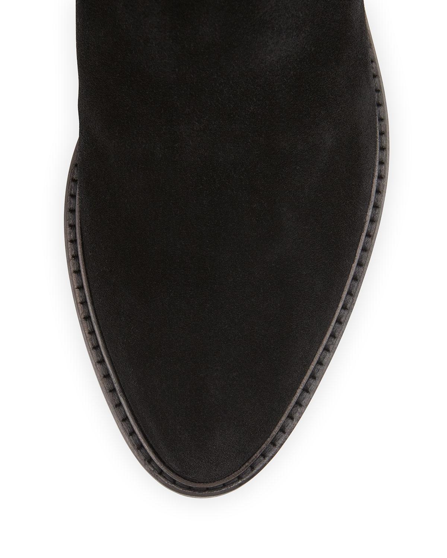 Lyst Aquatalia Gael Suede Smocked Inset Knee Boot In Black