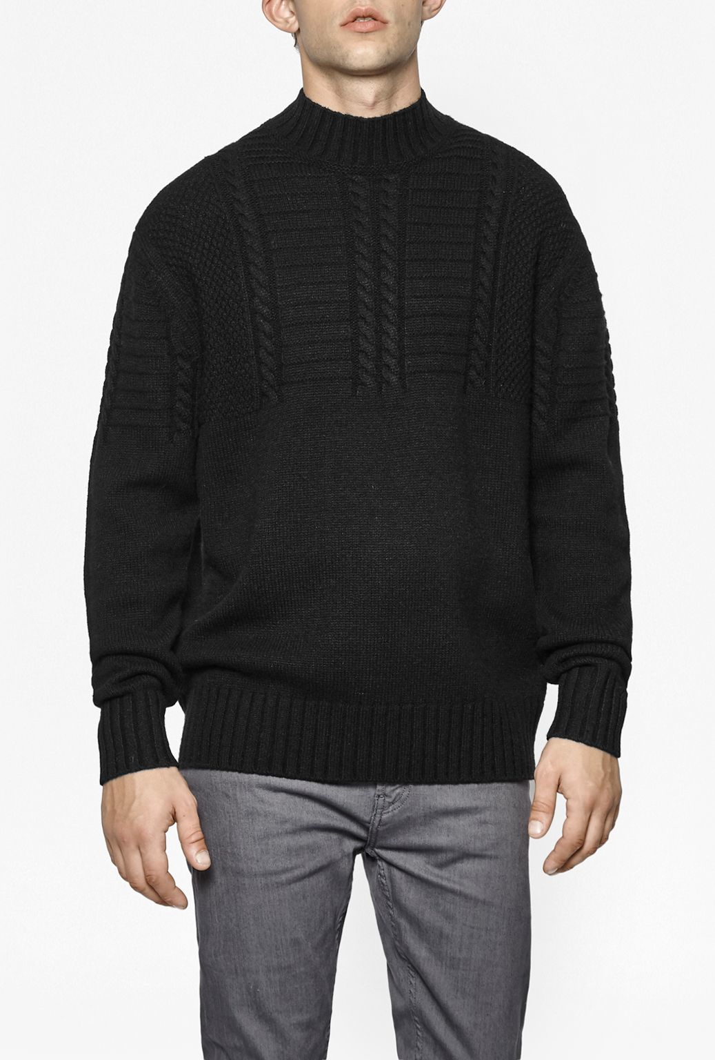 French Connection Fisherman Cable Knit in Black for Men