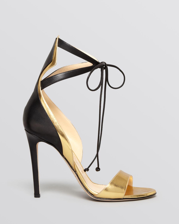 Black sandals gold heel - Alejandro Ingelmo Open Toe Sandals Culebra High Heel In Gold