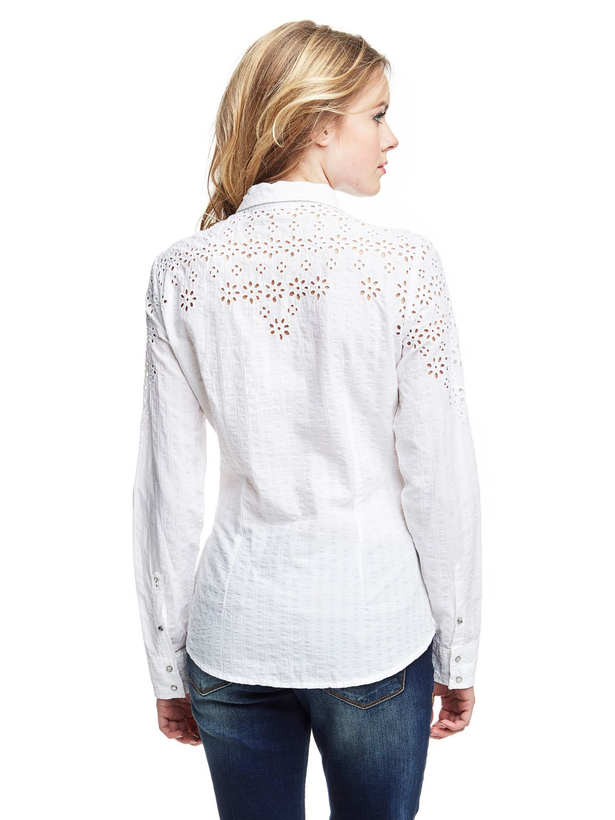 Guess Shirt With Lace Inserts in White | Lyst
