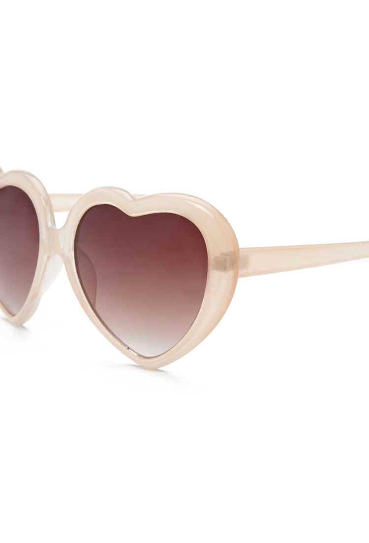 Sunglasses Forever 21  forever 21 heart shaped sunglasses in natural lyst