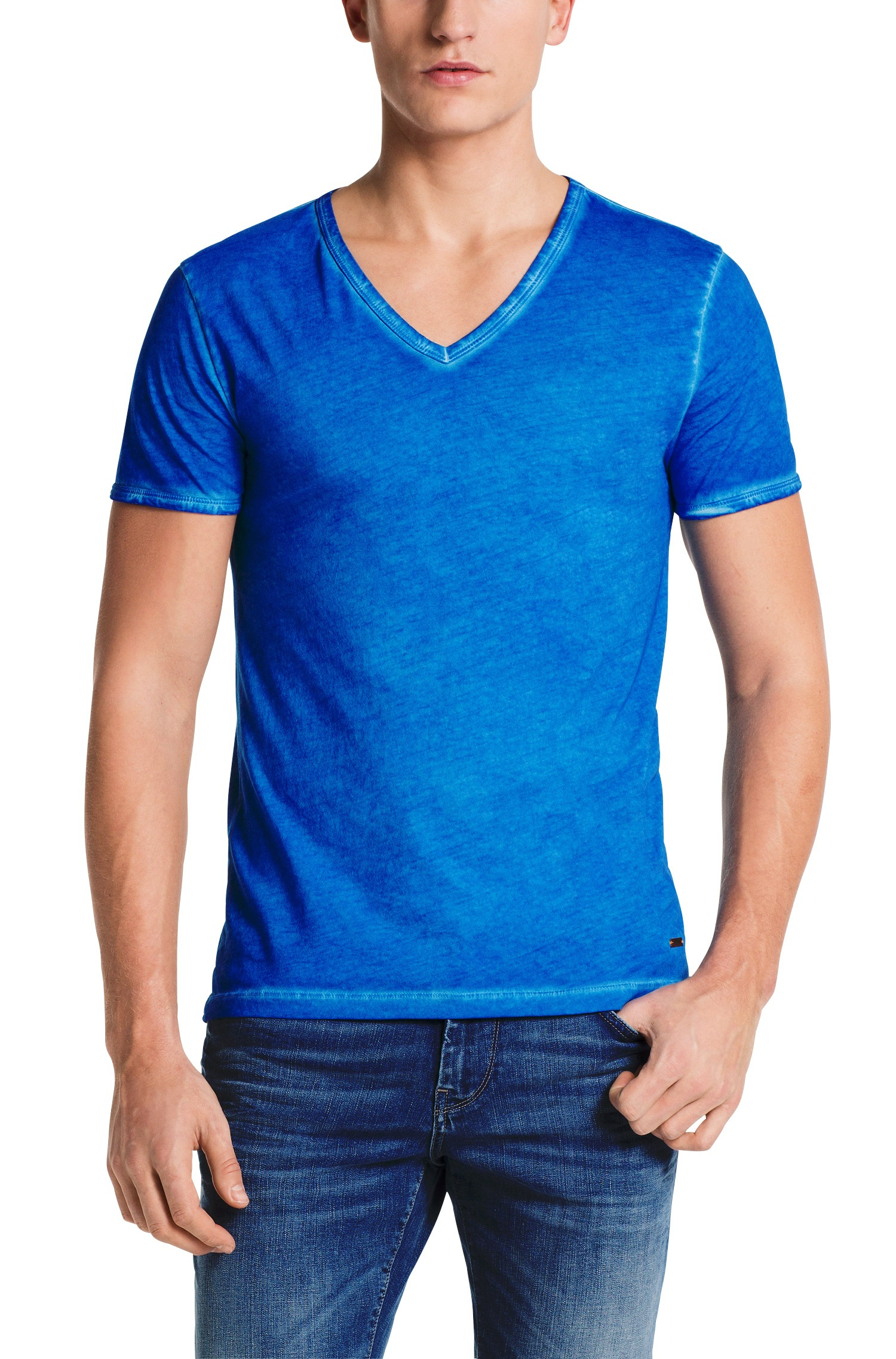 boss orange t shirt 39 toulouse 39 with v neck in blue for men. Black Bedroom Furniture Sets. Home Design Ideas