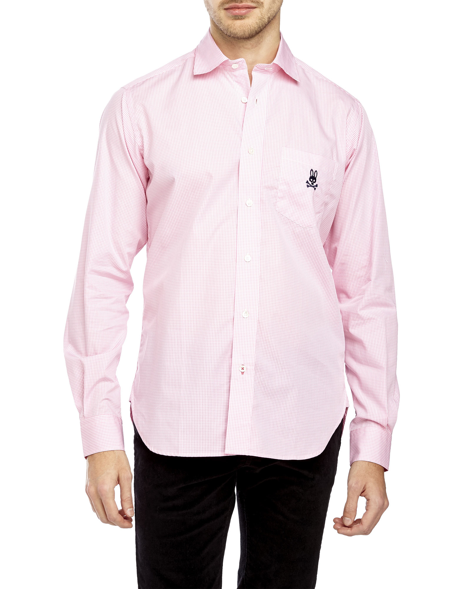 Psycho bunny Pink Micro-Gingham Sport Shirt in Pink for Men | Lyst