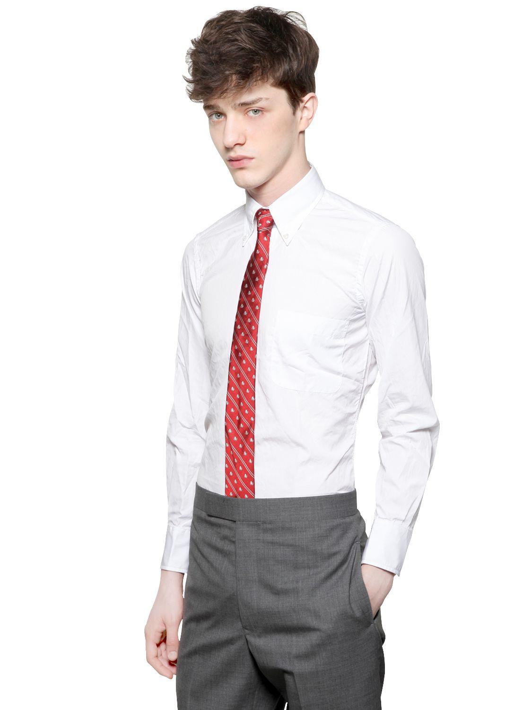 Thom browne cotton poplin button down shirt in white for for Thom browne white shirt