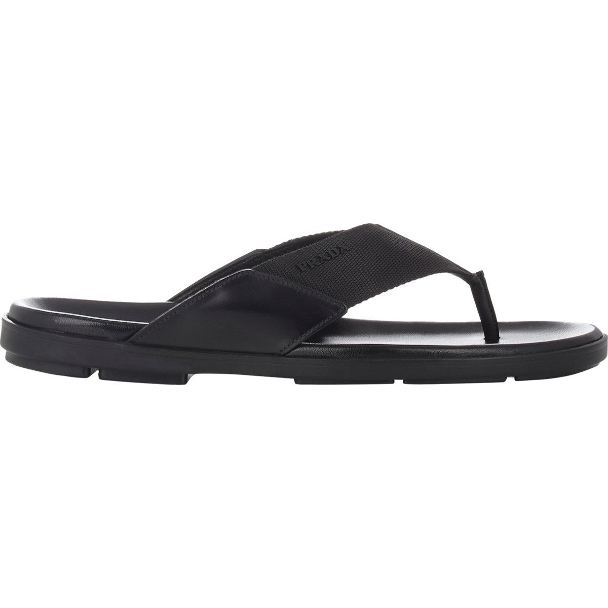 0317d77fa142 Lyst - Prada Men s Spazzolato   Nylon Thong Sandals in Black for Men