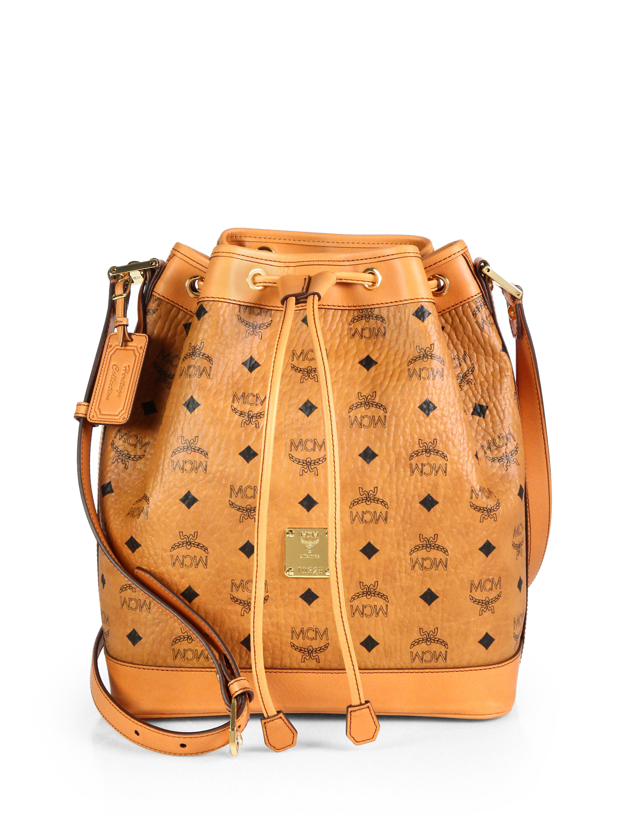 Mcm Heritage Small Coated Canvas Bucket Bag in Brown