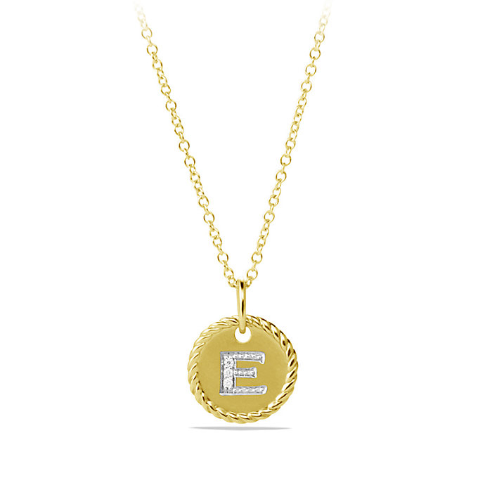 david yurman initial charm necklace with diamonds in gold
