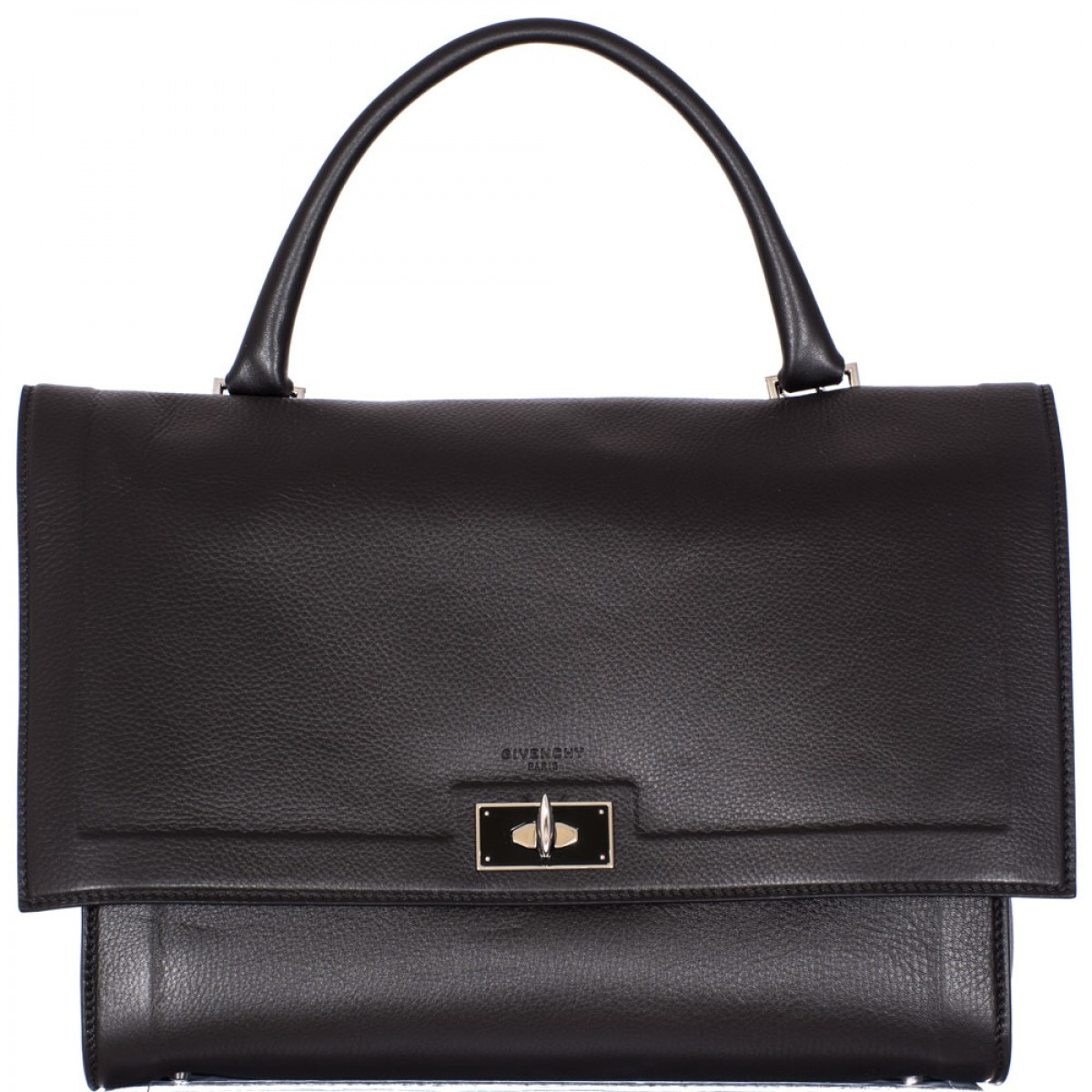 givenchy black hammered leather medium shark bag in black