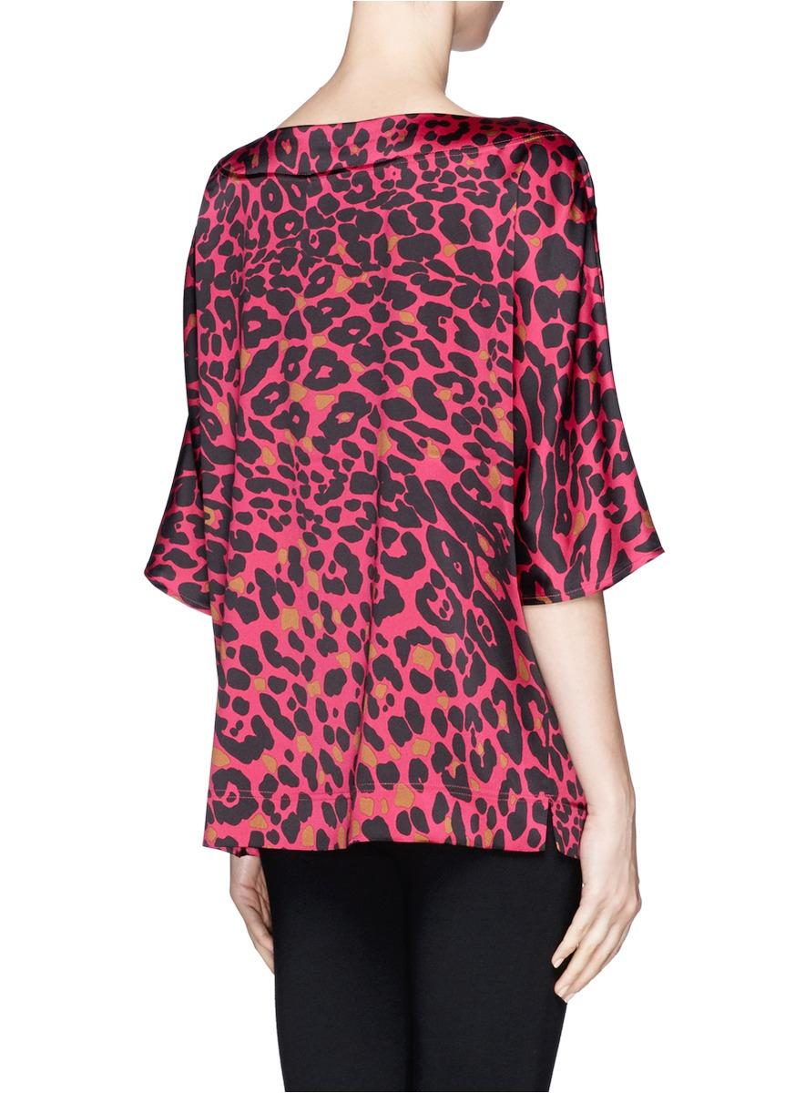 Lyst St John Leopard Print Silk Top