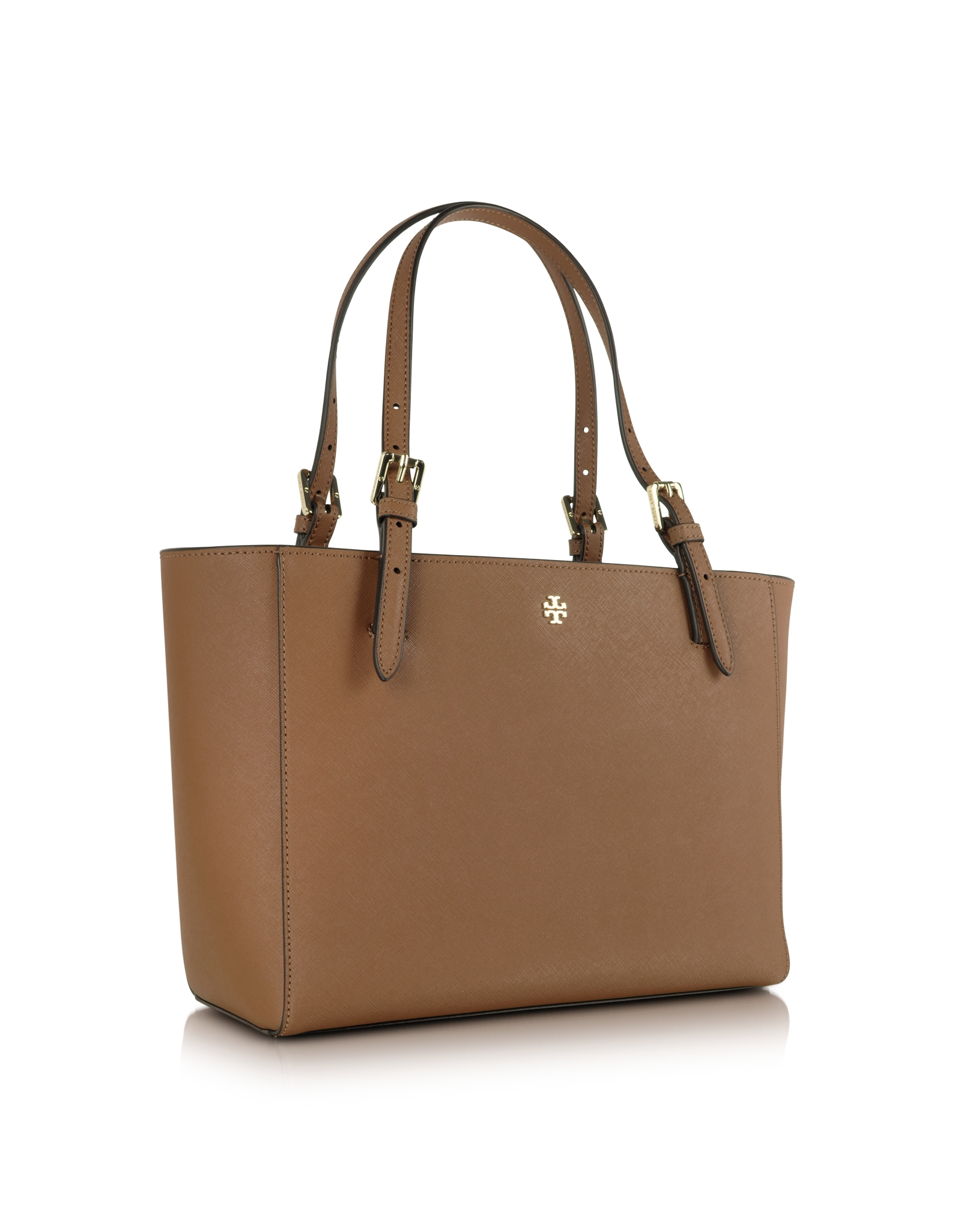 fc1bde93dbfa Lyst - Tory Burch York Saffiano Leather Small Buckle Tote in Brown
