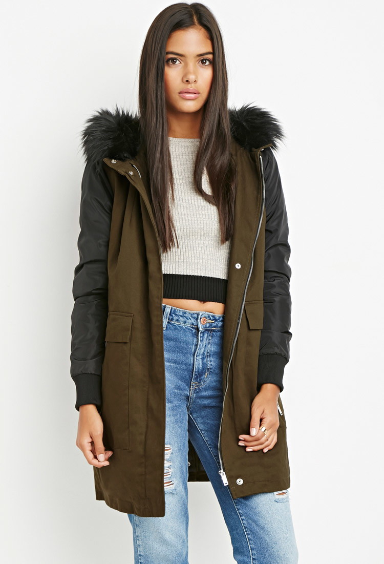 Forever 21 Contemporary Faux Fur Hood Utility Jacket in Green | Lyst