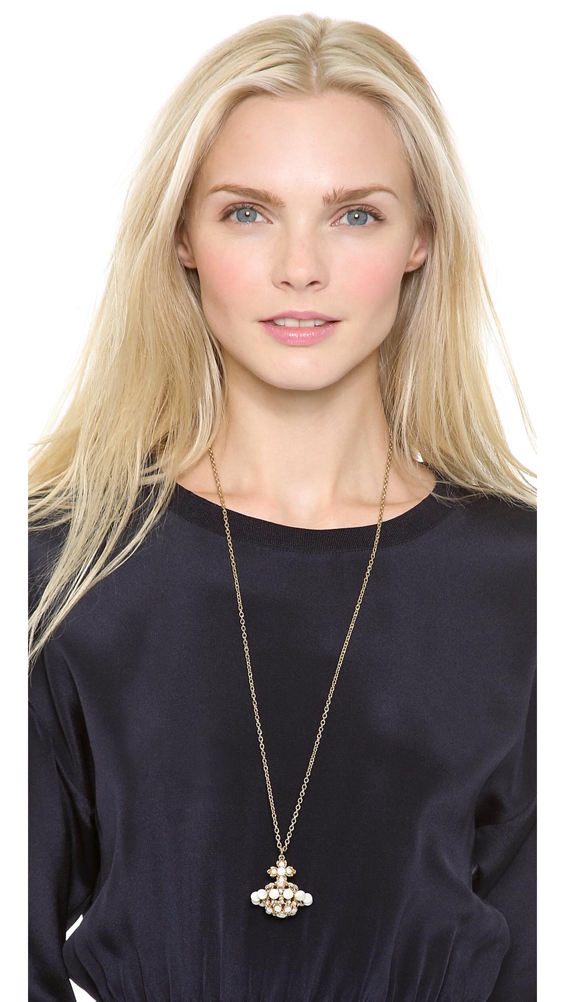 Lyst vivienne westwood stella orb pendant necklace in metallic gallery aloadofball Gallery