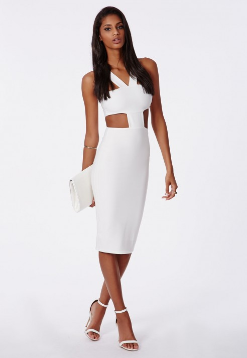 Images of White Cut Out Bodycon Dress - Gift and fashion