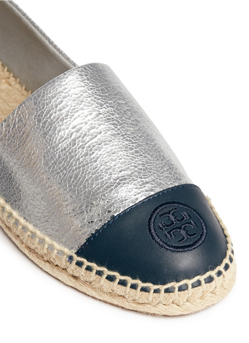Tory Burch Colourblock Leather Espadrille Slip Ons In