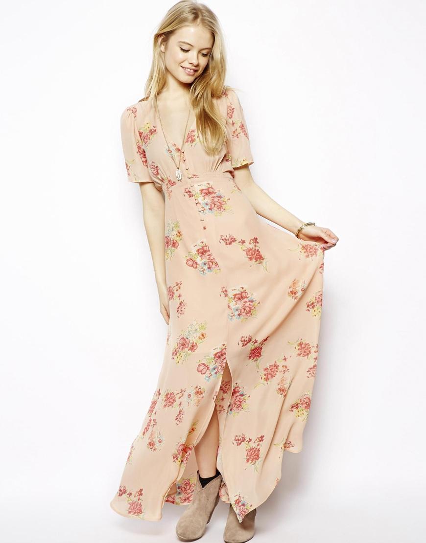 edceb4032b5dd Lyst - ASOS Pretty Maxi Dress In Floral Print in Natural
