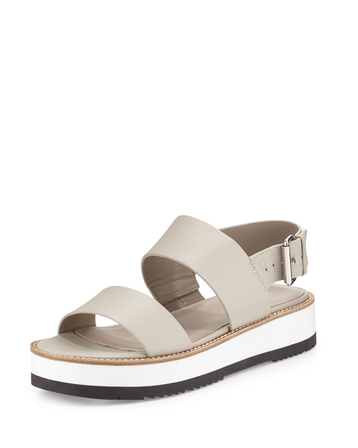 Vince Mana Leather Sandals In Natural Lyst