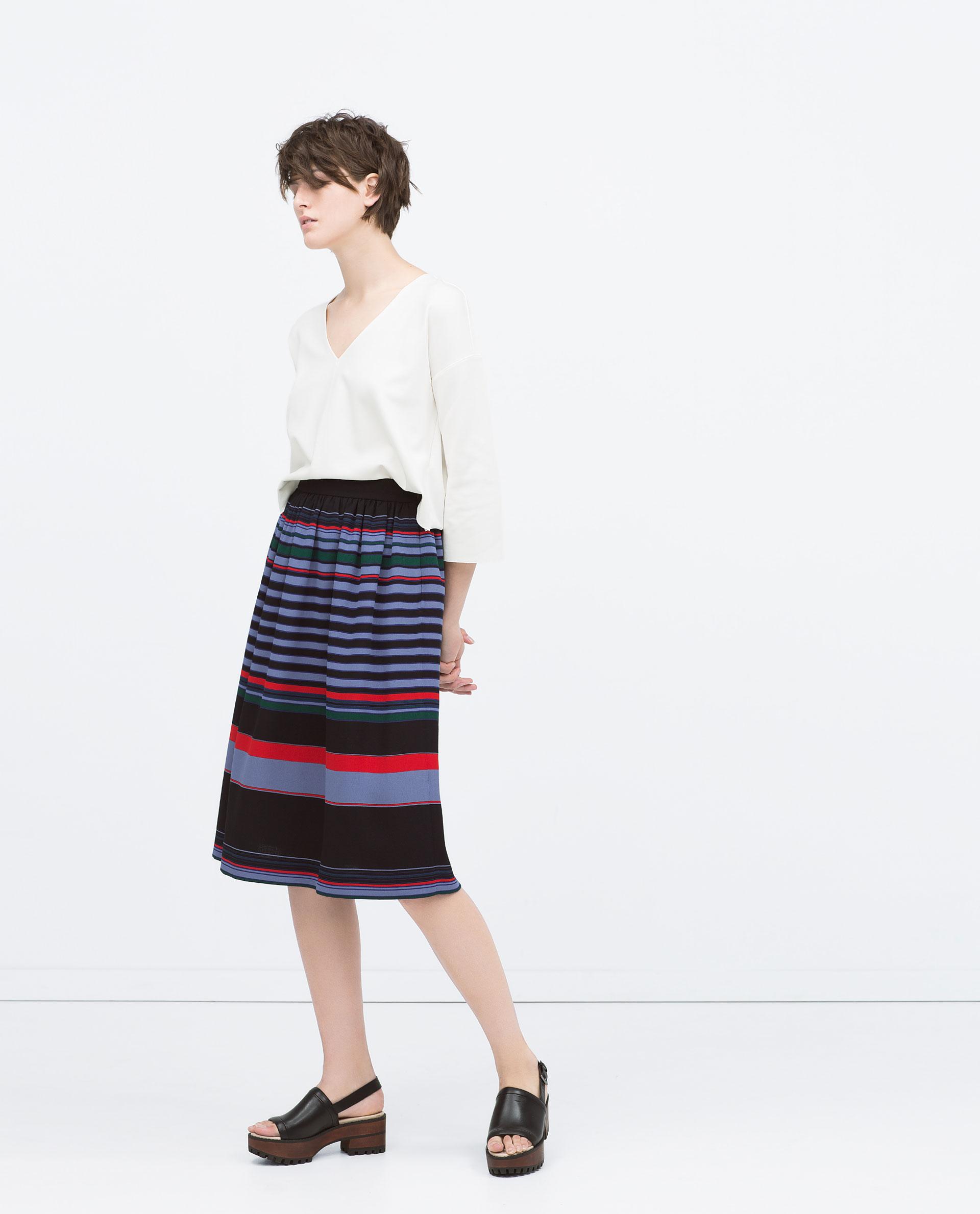 zara striped midi skirt striped midi skirt in