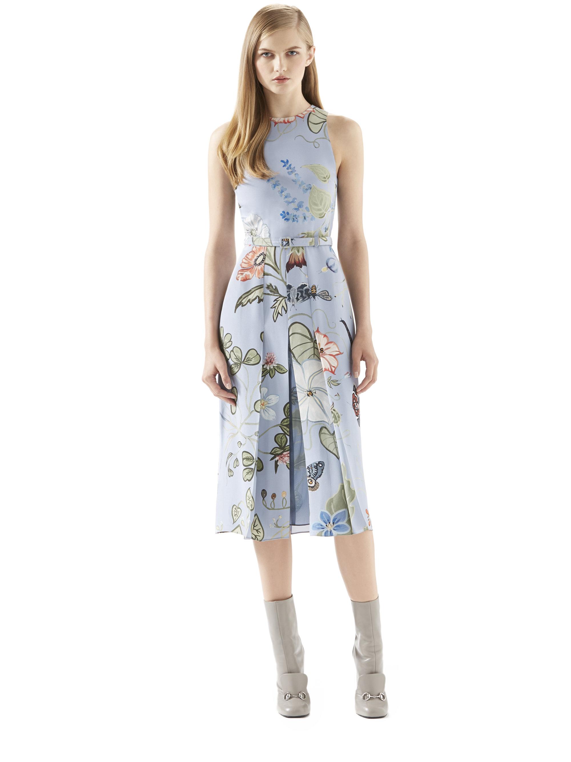 73a0cc220b Lyst - Gucci Flora Knight Light Matte Cady Dress in Blue