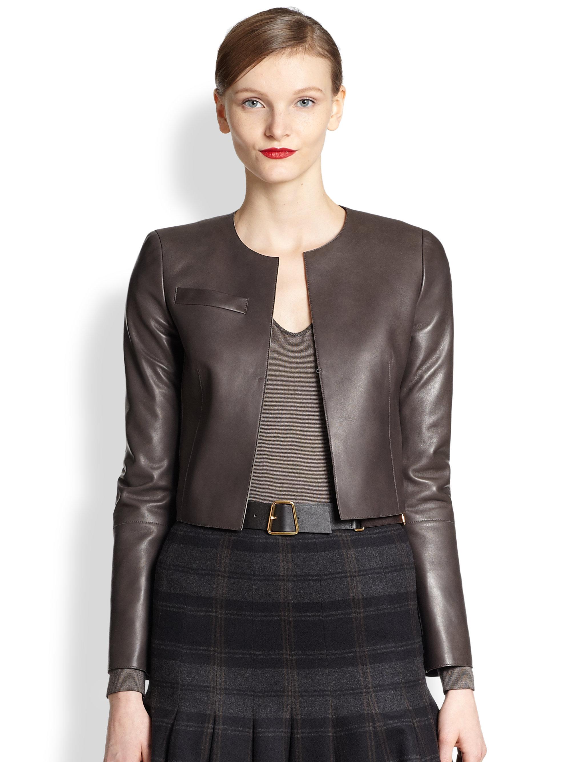 Lyst Akris Pavese Lambskin Leather Bolero Jacket In Gray