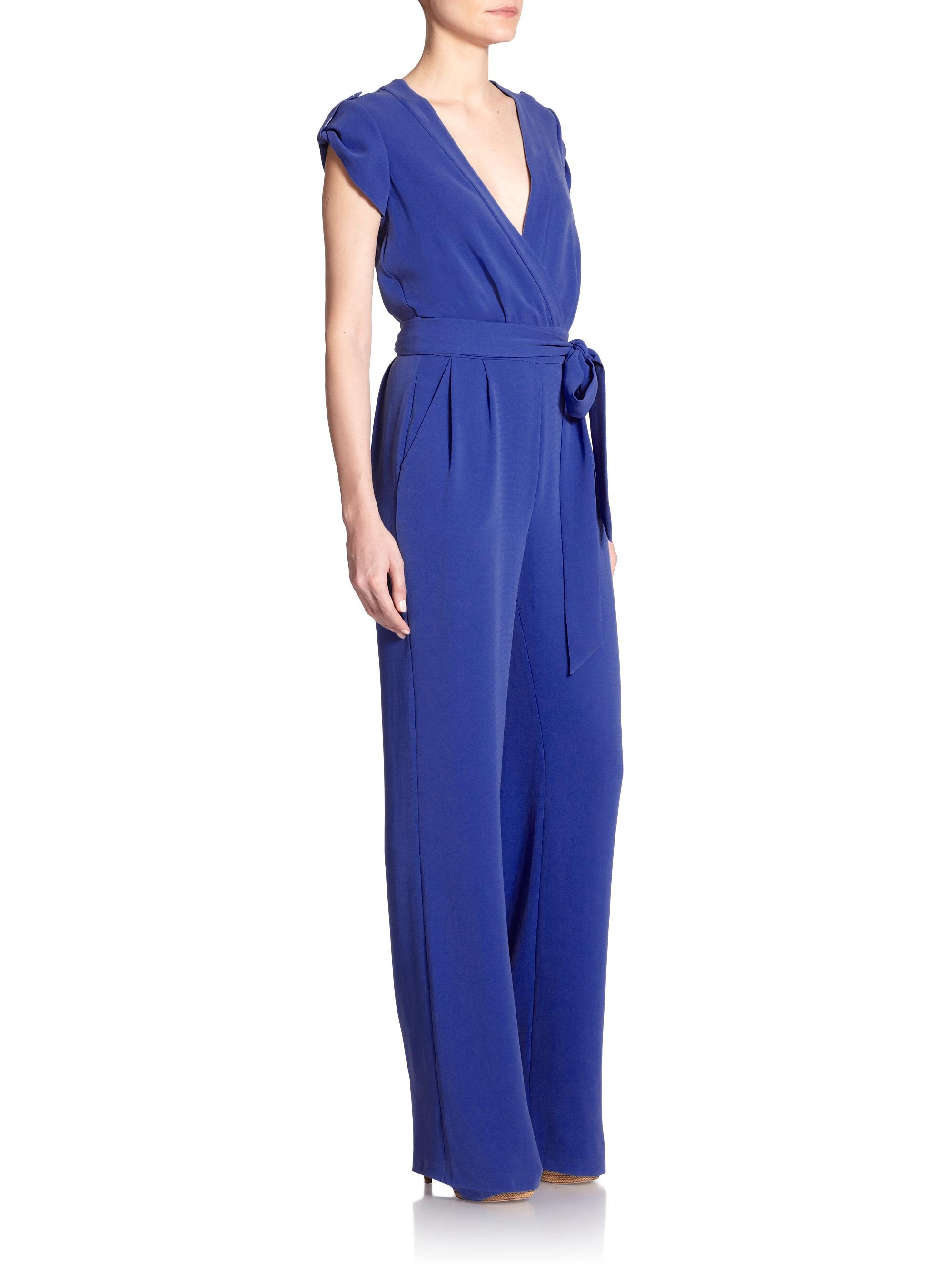 cfa3ee3d646 Lyst - Diane von Furstenberg Purdy Crepe Jumpsuit in Blue
