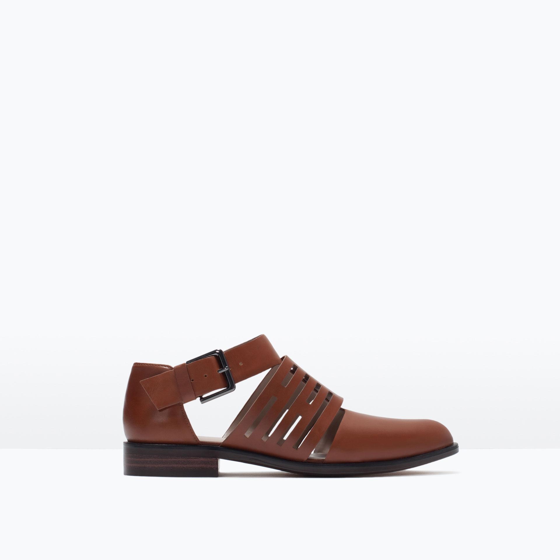 zara flat leather cutout shoes flat leather cutout shoes