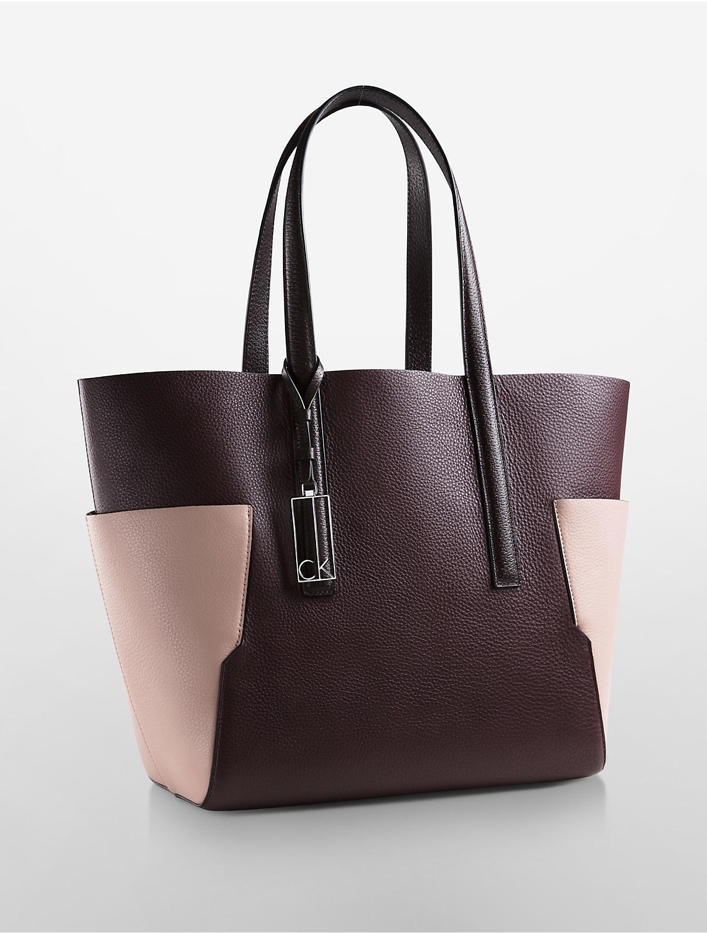 calvin klein arslyne colorblock leather shopper tote in. Black Bedroom Furniture Sets. Home Design Ideas