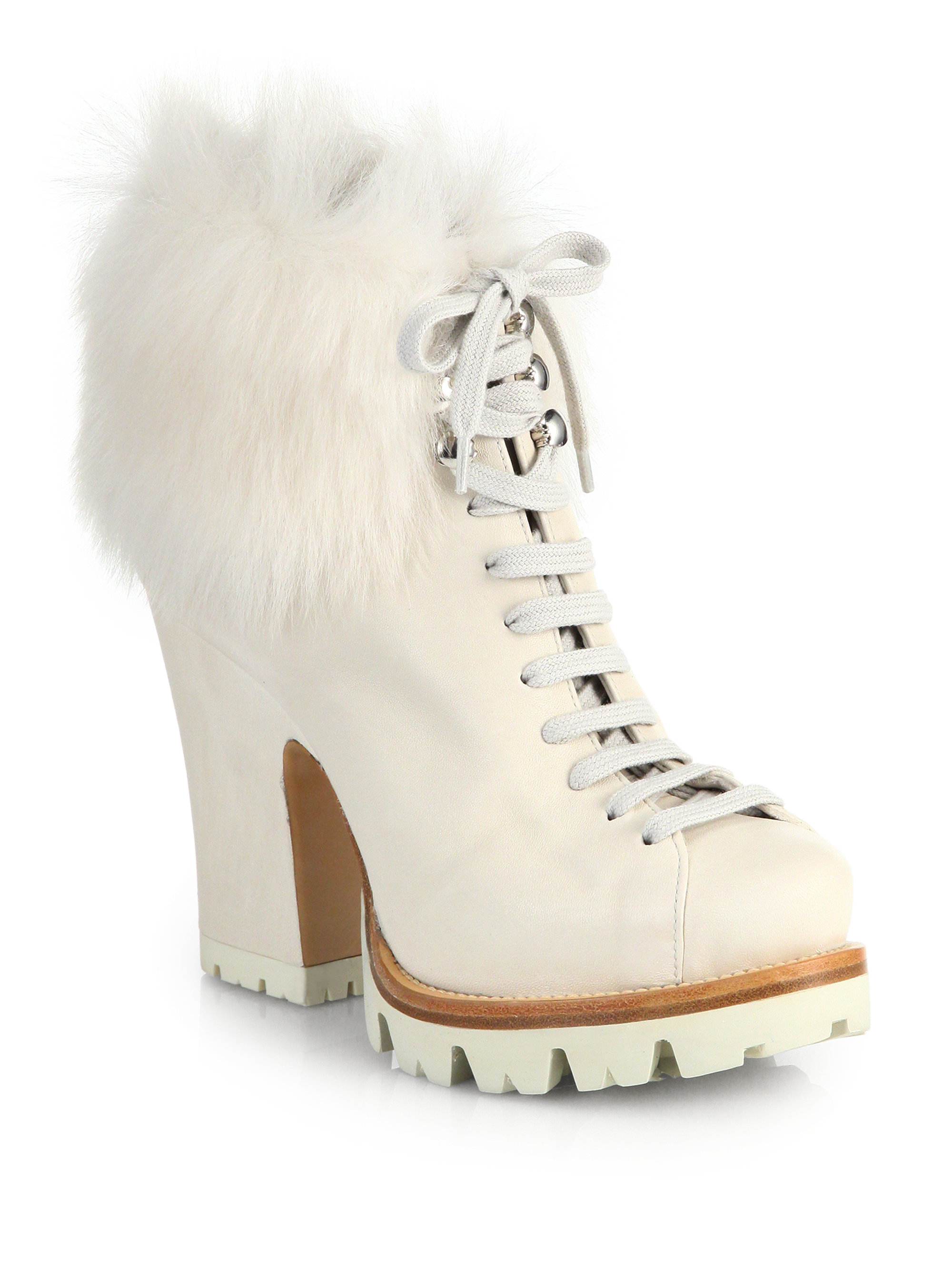 Prada Lug Sole Leather Amp Fur Ankle Boots In White Lyst