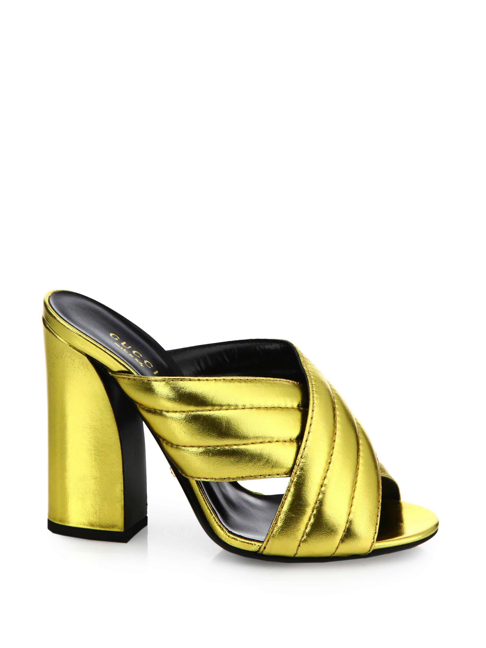 Lyst Gucci Webby Metallic Leather Block Heel Mules In