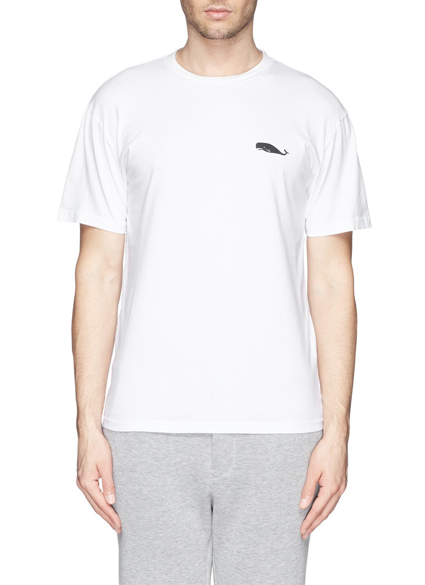 Mauro grifoni whale logo print t shirt in white for men lyst for Whale emblem on shirt