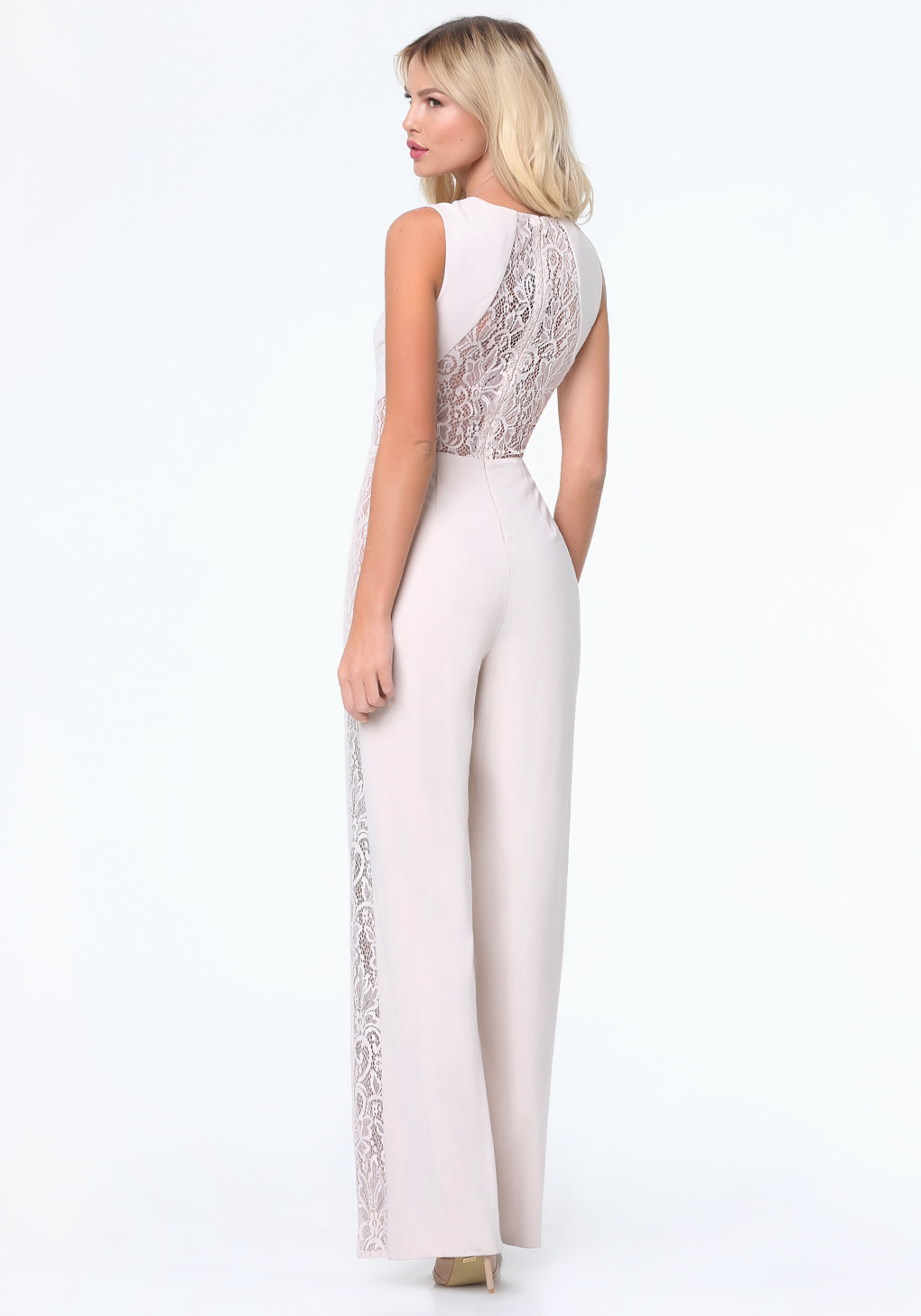 b055bf6526b Lyst - Bebe Lace Panel Jumpsuit in White