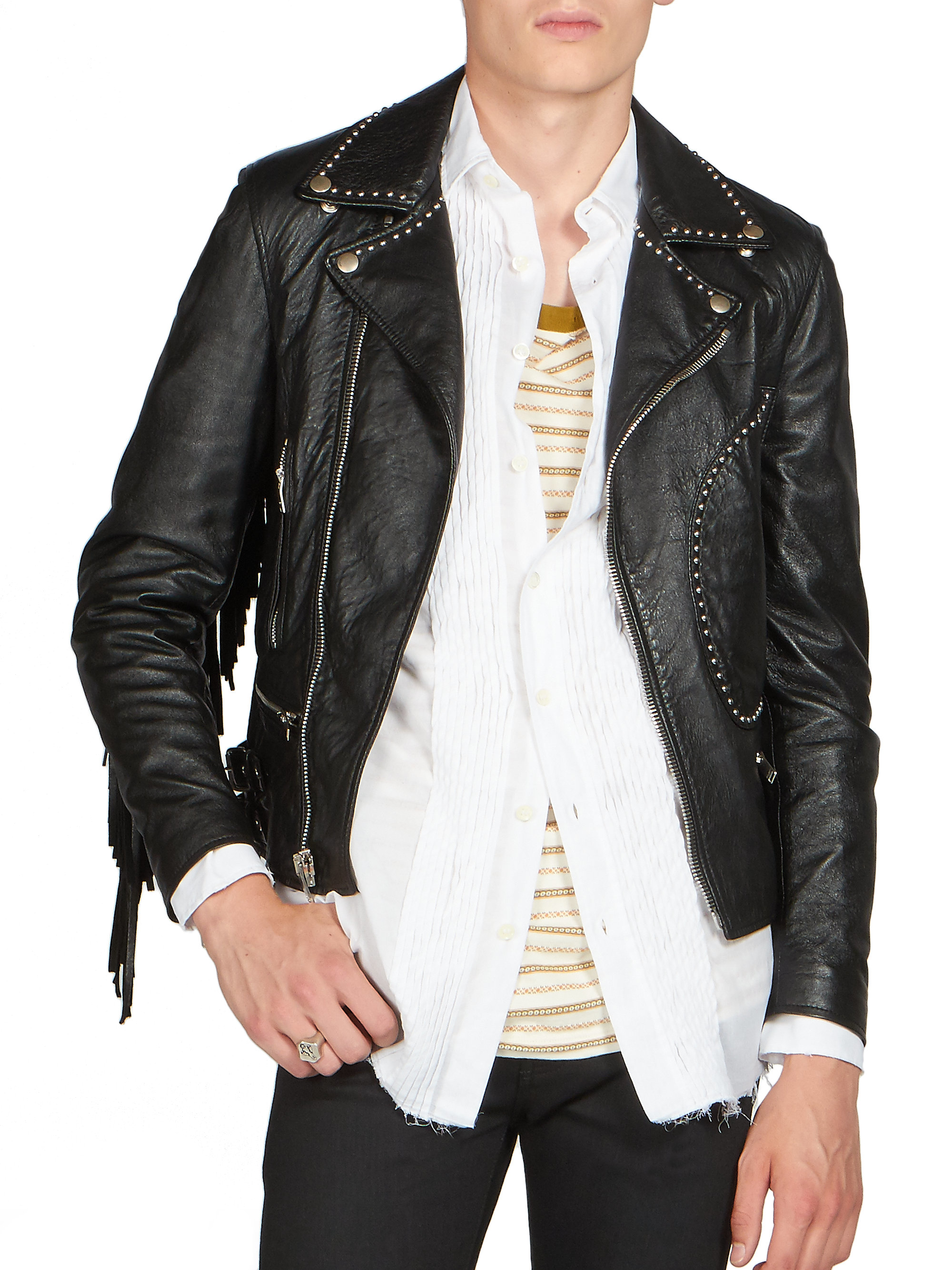 Saint laurent leather jacket men