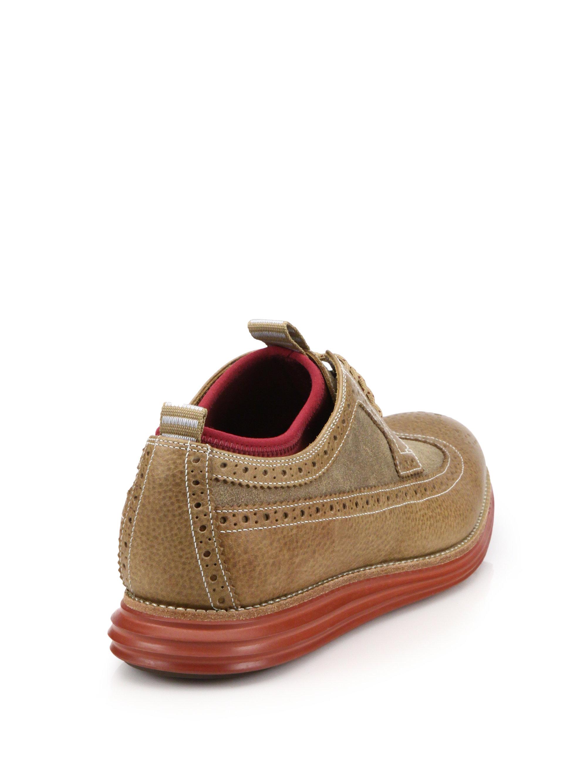 Cole Haan Lunar Grand Wingtip Derby Sneakers In Brown For