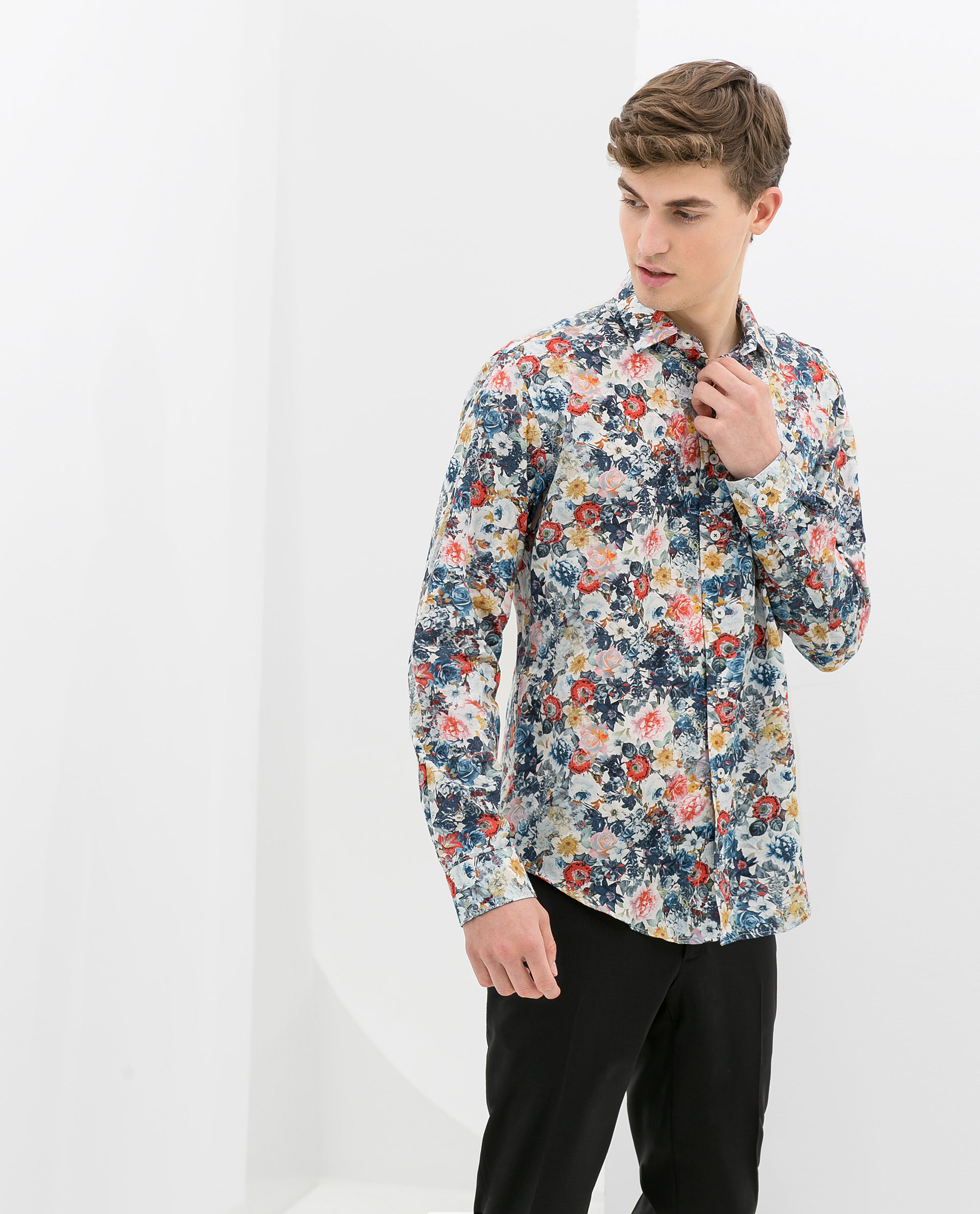 zara floral print shirt in red for men lyst