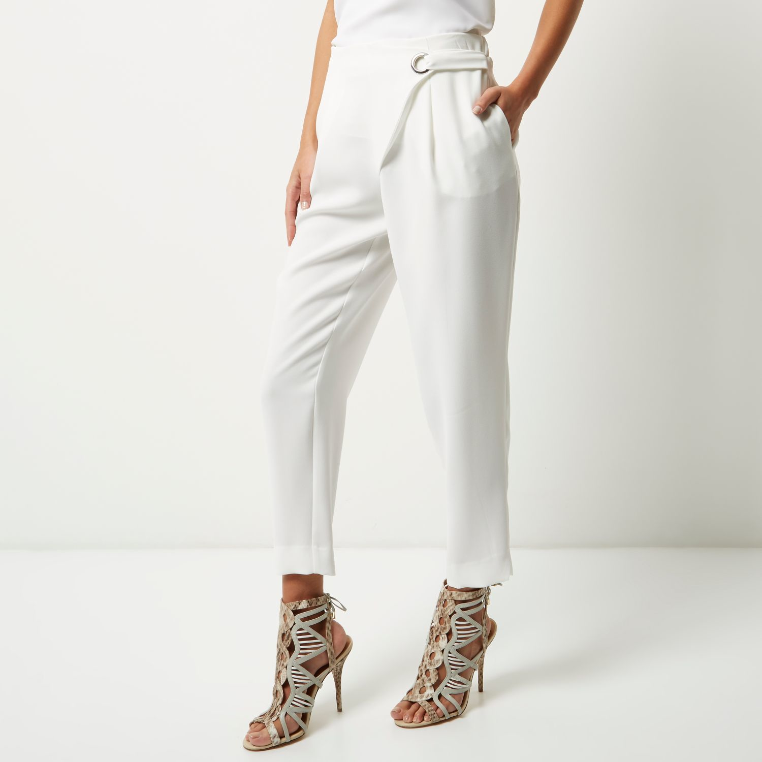 Womens White tie waist tapered trousers River Island V2HBHr