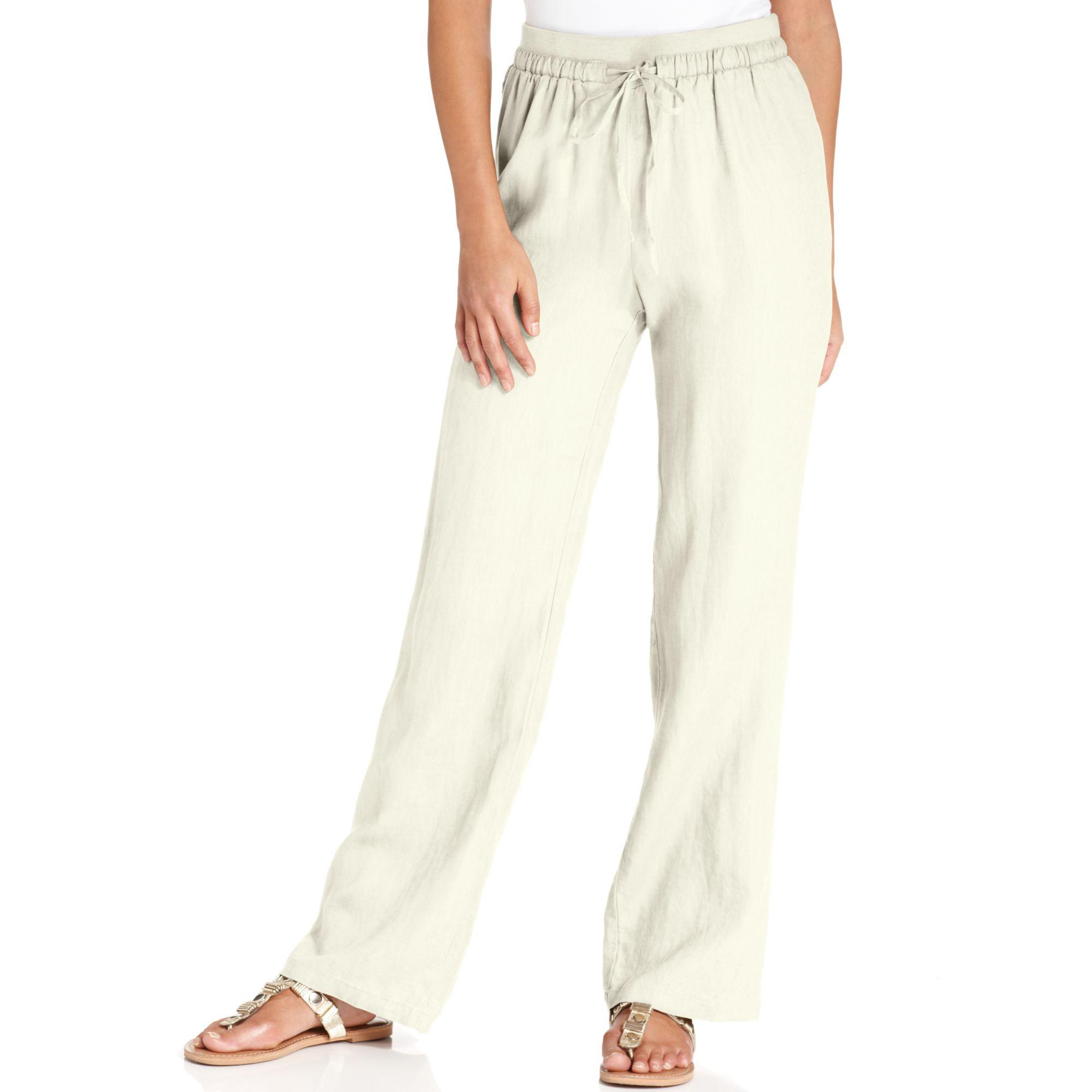 Ellen Tracy Wideleg Linen Pants In Beige Chalk Lyst