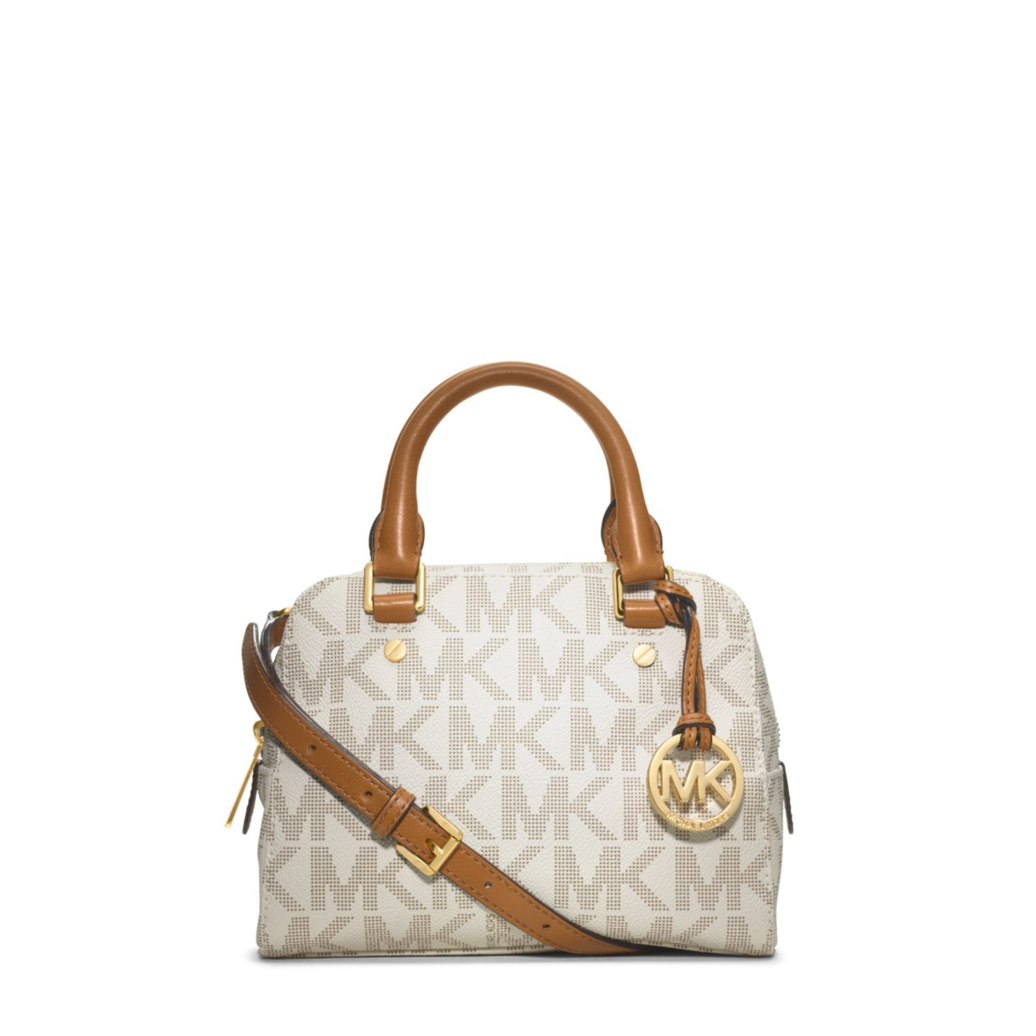 058fbce6ee540 Lyst - Michael Kors Jet Set Travel Logo Small Satchel in White