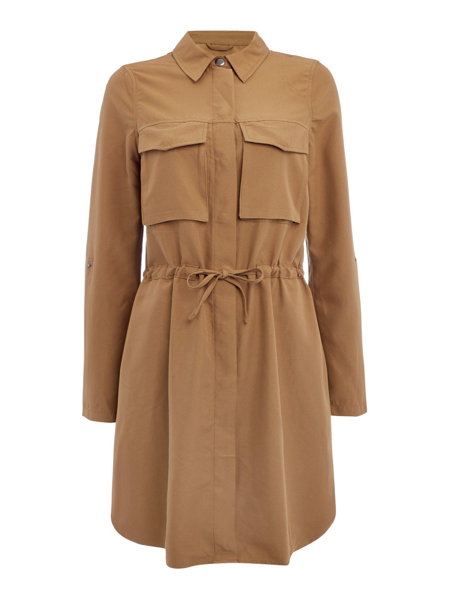 vero moda 3 4 sleeve jacket in brown lyst. Black Bedroom Furniture Sets. Home Design Ideas
