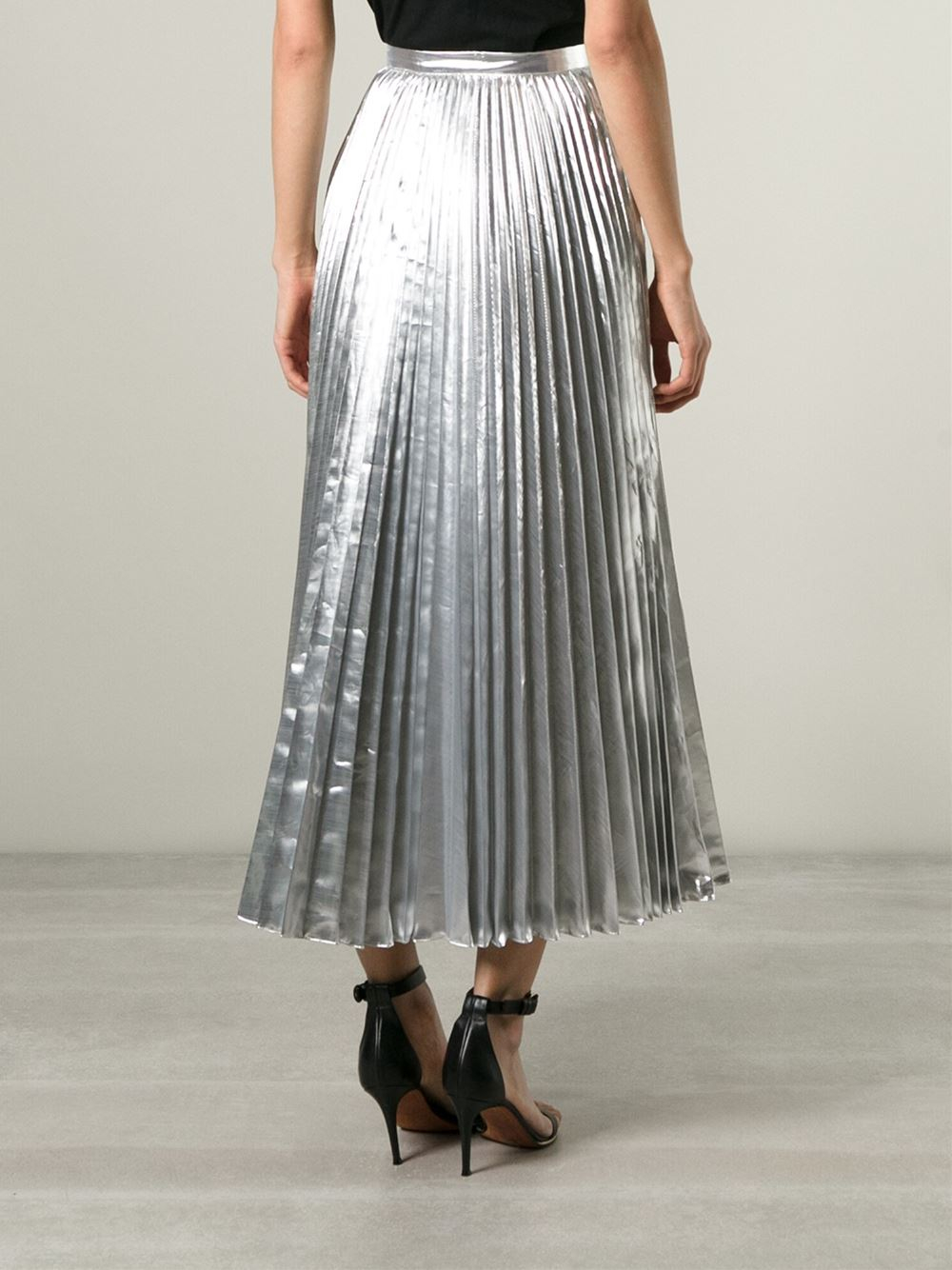 dkny pleated maxi skirt in silver metallic lyst