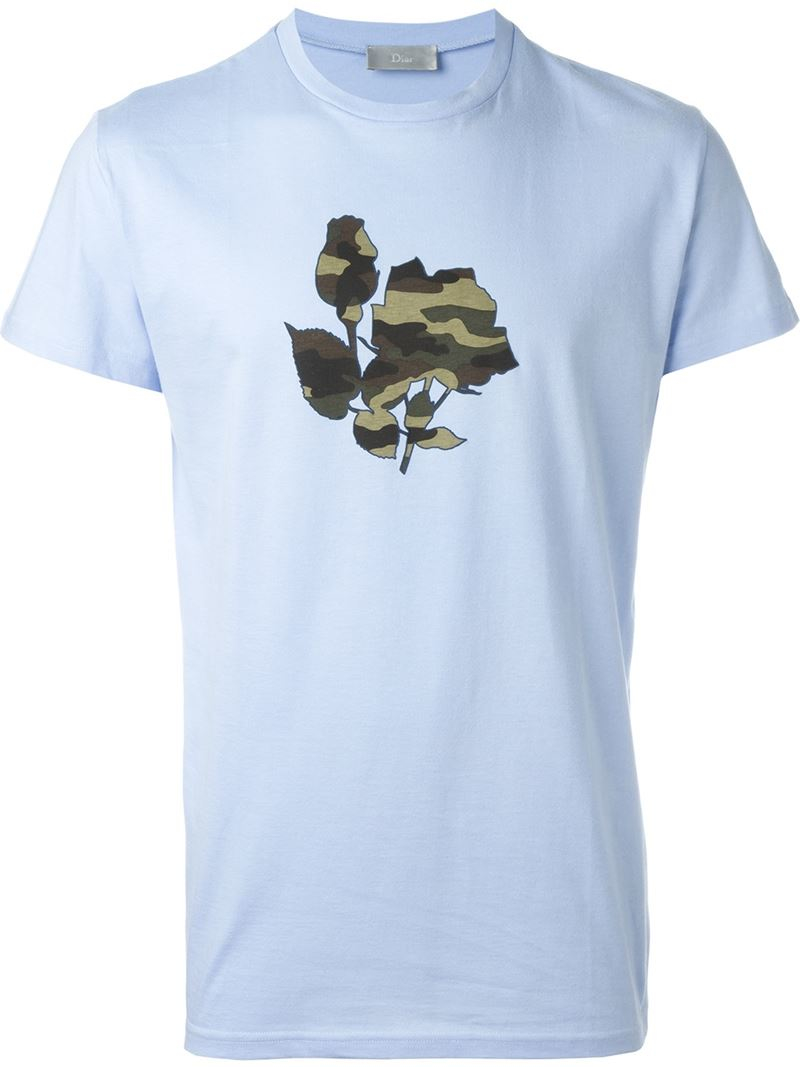 lyst dior homme camouflage rose t shirt in blue for men. Black Bedroom Furniture Sets. Home Design Ideas