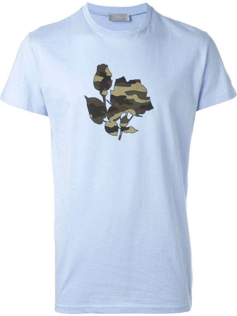 dior homme camouflage rose t shirt in blue for men lyst. Black Bedroom Furniture Sets. Home Design Ideas