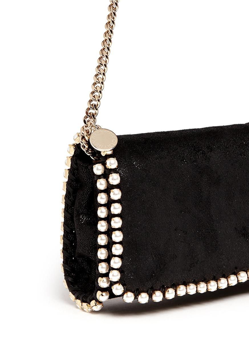 ff5c5ff67551f Stella McCartney  falabella  Faux Pearl Trim Crossbody Chain Bag in Black -  Lyst