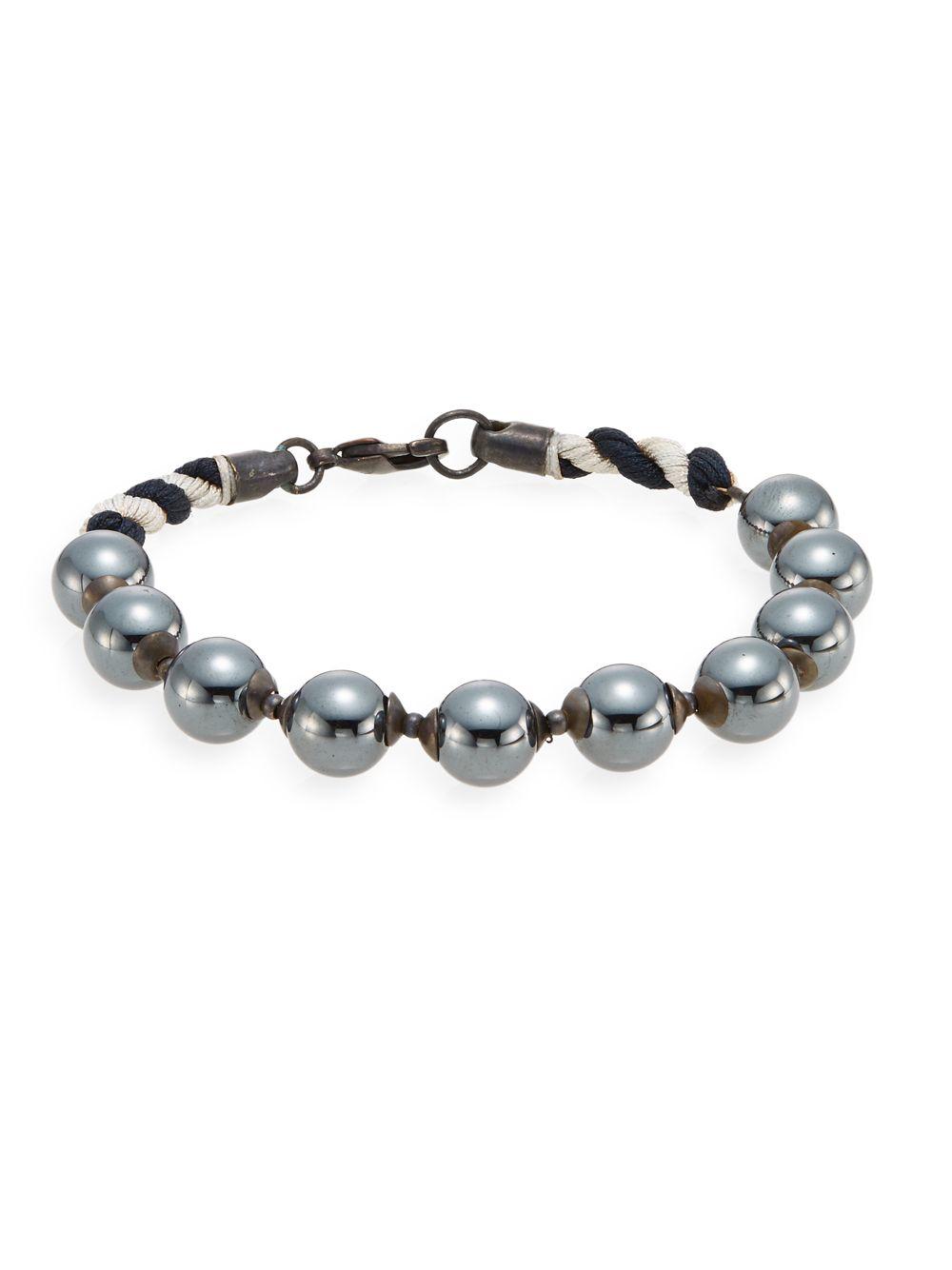 e66e5fde86047 Lyst - Jan Leslie Hematite Beaded Bracelet in Gray