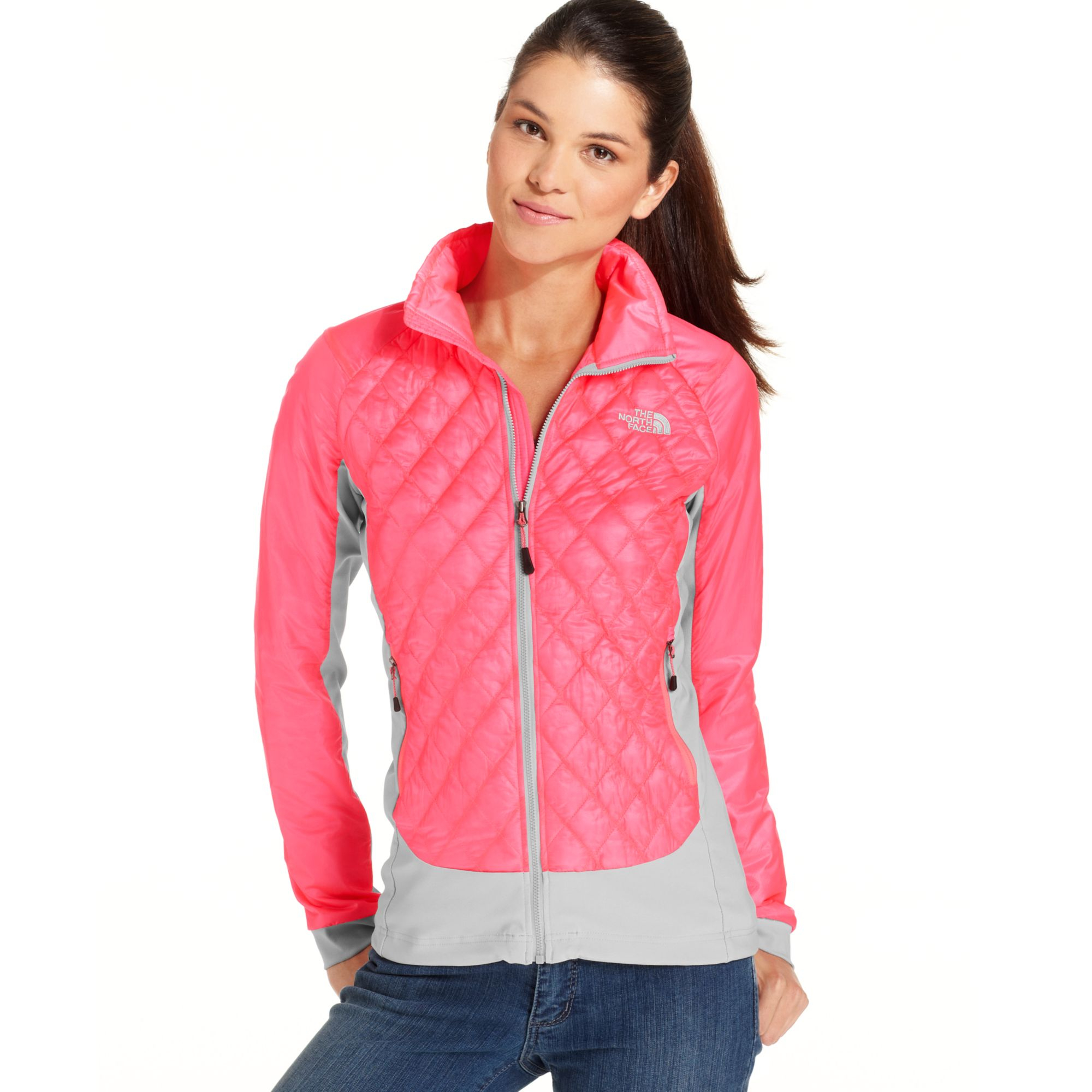 coupon code lyst the north face thermoball quilted jacket in pink 5f7e2  8075d aea0b7f7f
