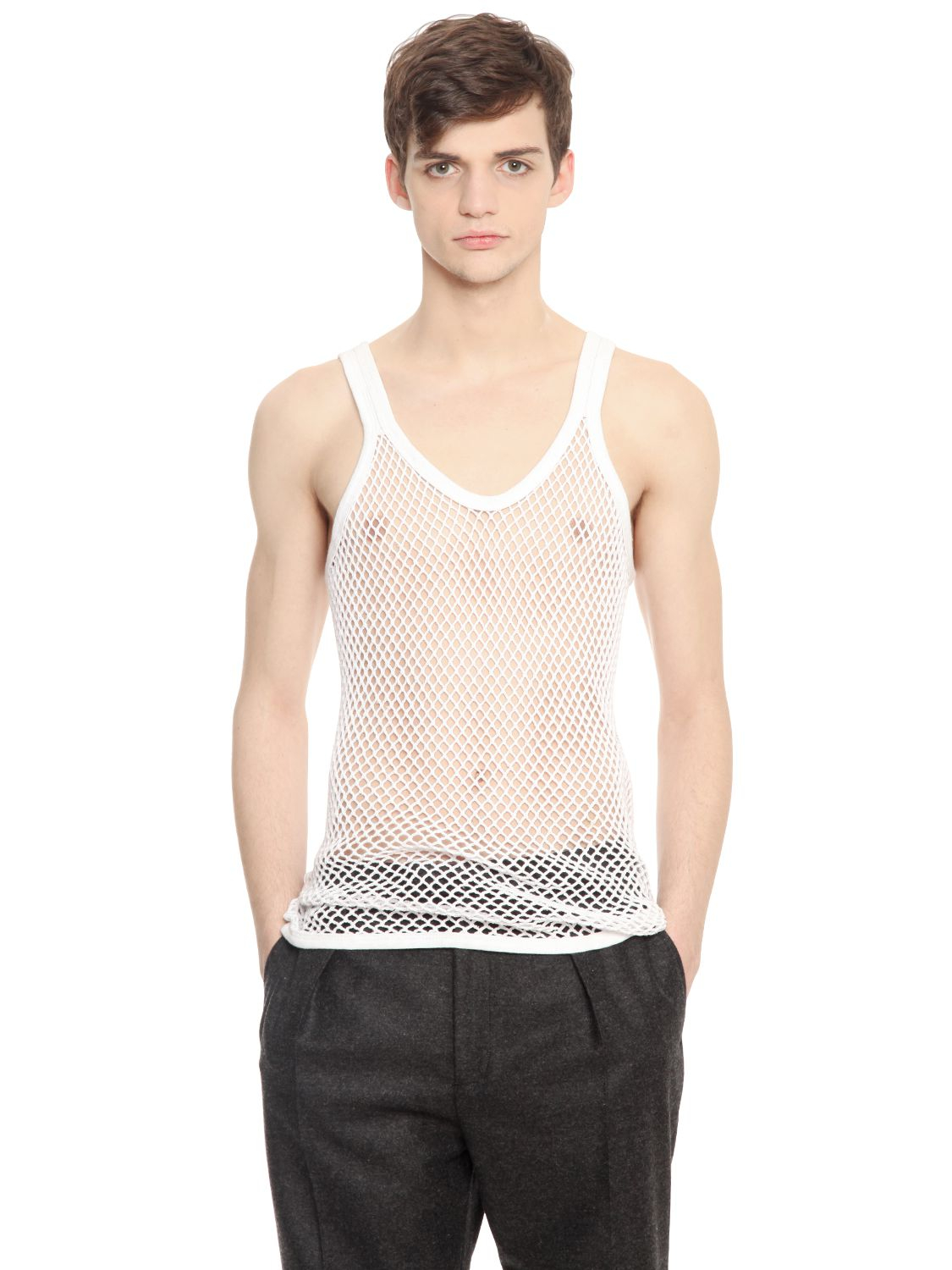 Burberry Prorsum Cotton Mesh Tank Top In White For Men
